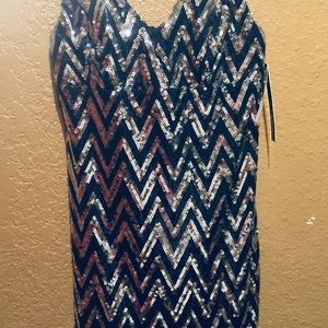 Navy blue and silver sequin dress- size 9- NWT